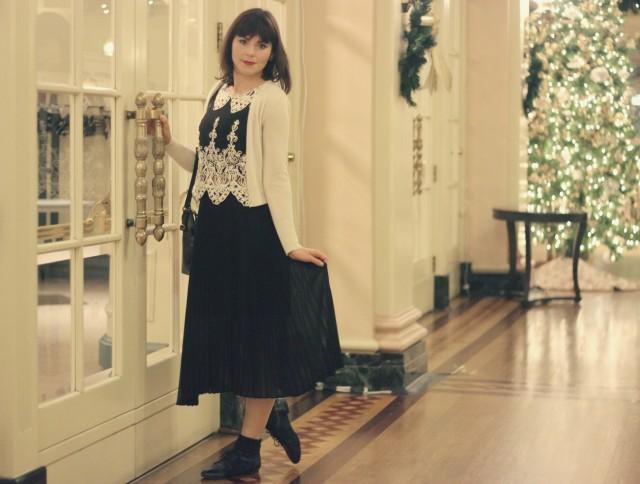 club monaco cashmere cardigan, Design lab top, club Monaco skirt, Elliot Lucca floral bag,