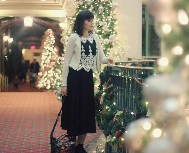 club monaco cashmere cardigan, Design lab top, club Monaco skirt, Elliot Lucca floral bag,