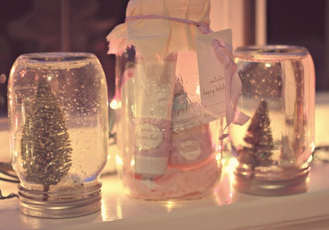 Frilly Lilly Gift Ideas, Pink Christmas tree, DIY Mason Jar Snow Globes, Pink Christmas Pjs, Christmas Pedicure