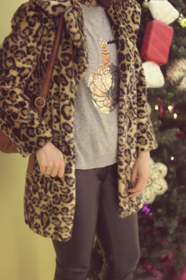High rise Skinny leather yoga jeans, ASOS leopard coat, H&M perfume sequinned sweater,