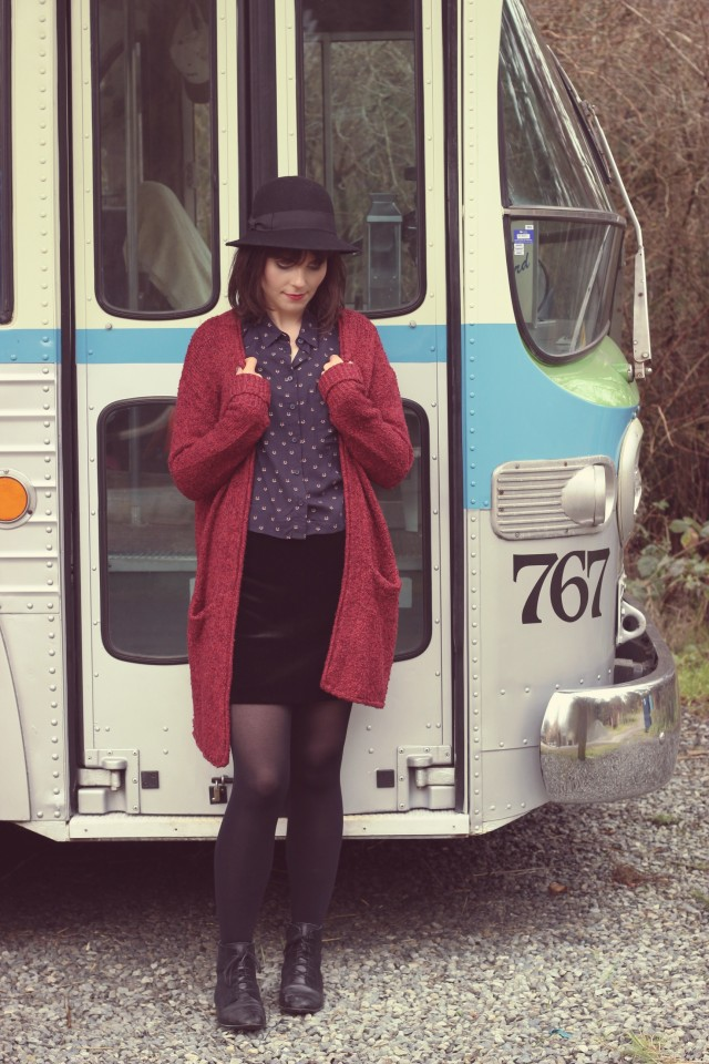 H&M Fox printed Blouse, H&M burgundy long cardigan, Tilley Endurables Vintage Cloche Hat, H&M Velvet Mini skirt, Vintage Bus, Vintage Fashion