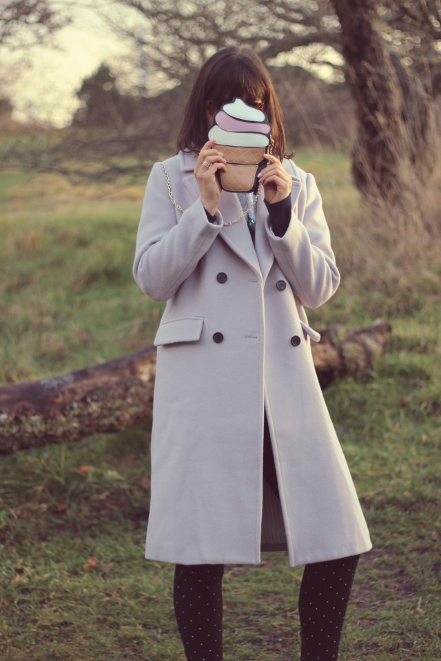 Chic Wish Tender Wool-blend Longline Coat in Lilac, Chic Wish Dark Amber Kitten Cat Eye Sunglasses, New Chic Women Kawaii Cupcake Ice Cream Cluthes Bag