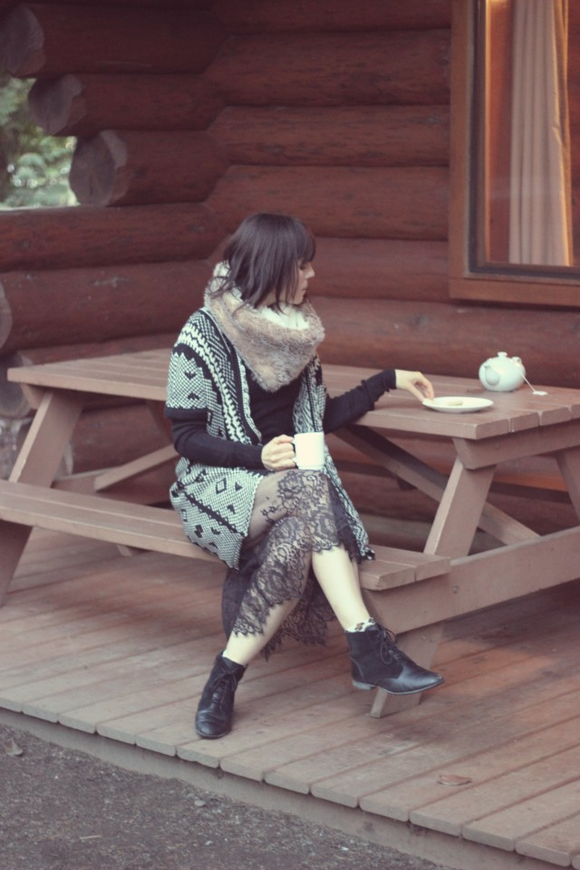 Rustic Log Cabin, Marshall's Aztec Cardigan, California Moonrise Black knit dress with lace hem, Tigh-Na-Mara
