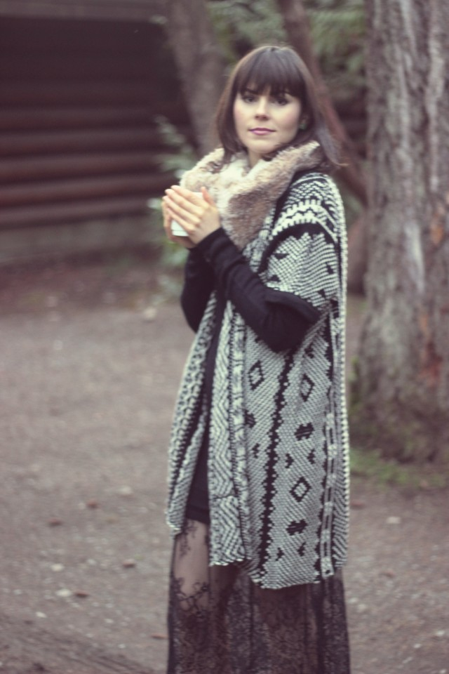Rustic Log Cabin, Marshall's Aztec Cardigan, California Moonrise Black knit dress with lace hem, Tigh-Na-Mara