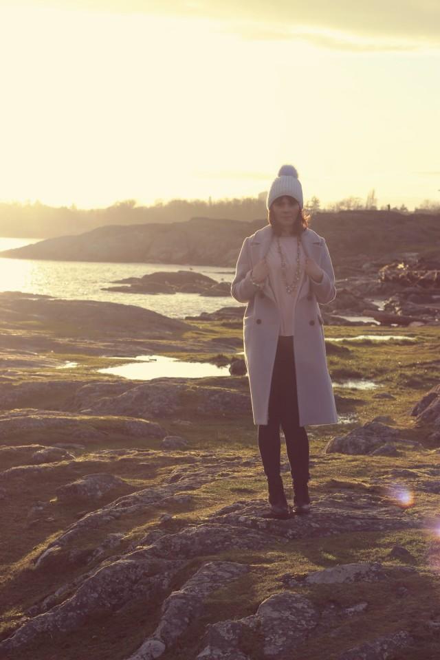 Chic Wish Tender Wool-blend Longline Coat in Lilac, Design Lab, Spring Fashion Pastel fashion,