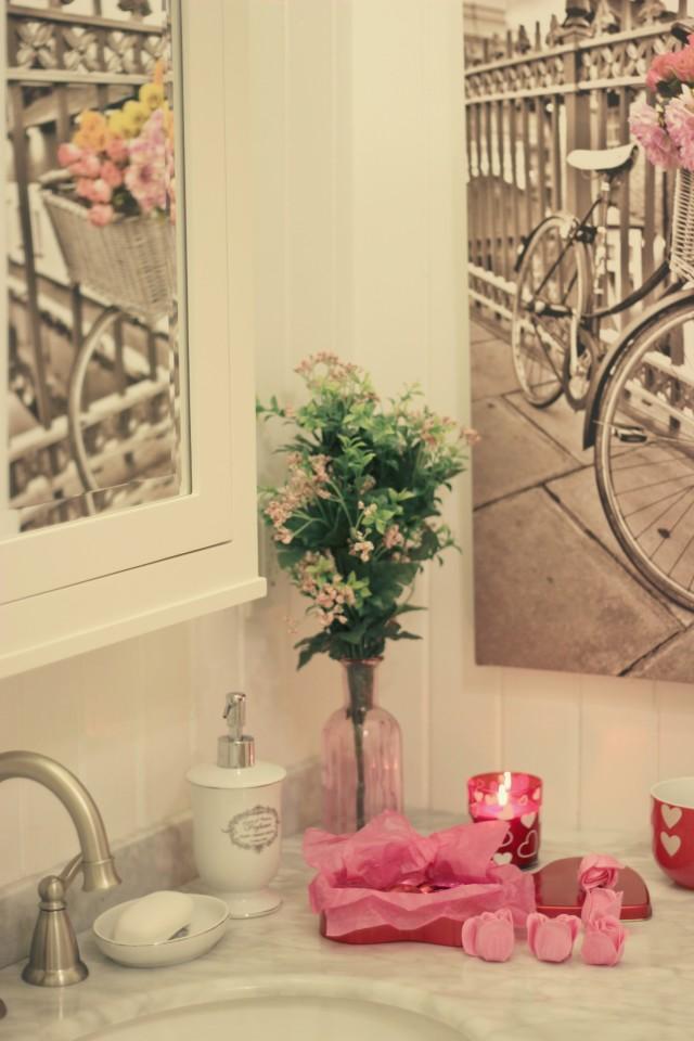 InteriorCrowd, Bathroom Renovation, Vintage Bathroom, Claw foot Tub, Galentines Day, Valentines Day Fashion, Old Navy Heart Pjs, Paris Shower Curtain