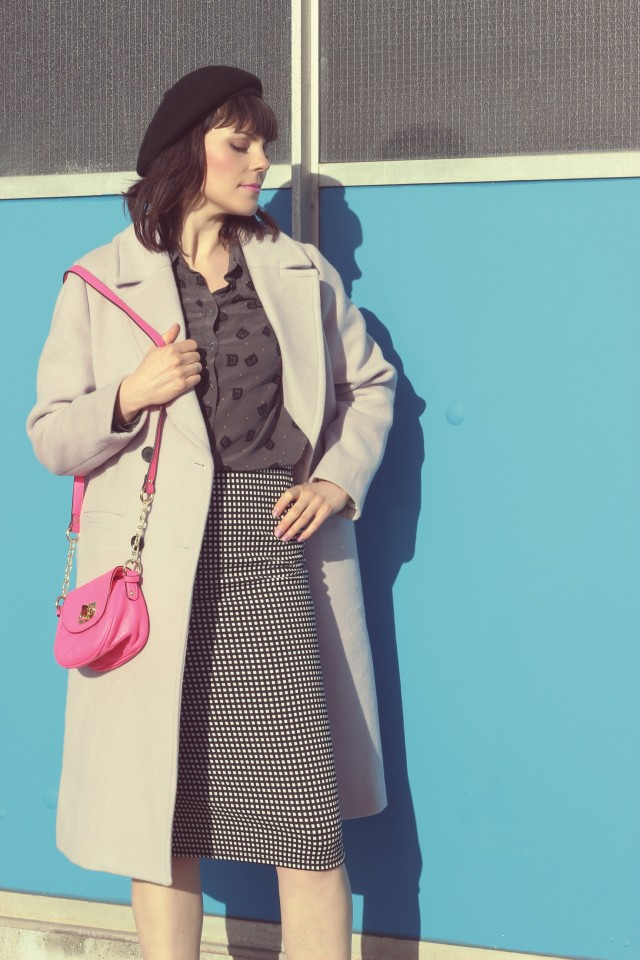Chic wish pastel purple coat, Joe Fresh Cat printed silk top, Old Navy gingham pencil skirt, black beret, Pink Target bag, Spring fashion, vintage fashion, fashion blogger