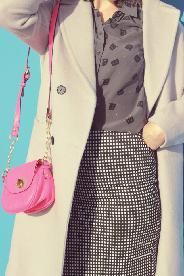 Chic wish pastel purple coat, Joe Fresh Cat printed silk top, Old Navy gingham pencil skirt, black beret, Pink Target bag, Spring fashion, vintage fashion, fashion blogger