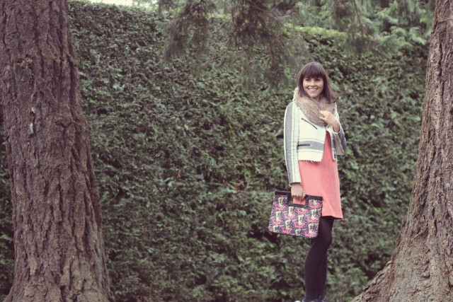 Club Monaco Jacket, Design Lab shift dress, AEO faux fur snood, Far and Wide Collective Clutch, Beacon hill Park, Fashion Blogger, Spring Fashion, Victoria