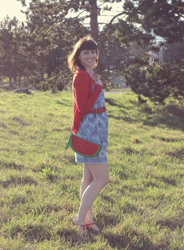 Watermelon Bag, Old Navy Chambray Dress, Charming Charlie Red Belt, Target Red Cardigan, Stella and dot Red Necklace, Seychelles Red Shoes, Fashion Blogger, Vintage Fashion, Spring Fashion