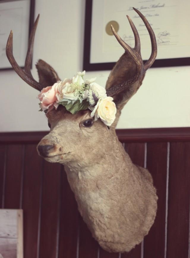 Vintage Deer Buck with flower crown