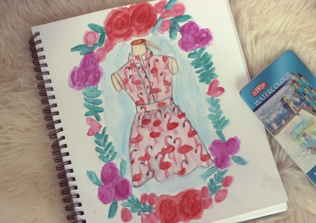 Chic Wish Flamingo Dress, Pink Flamingo, Pink spring dress, neon pink bag, spring fashion, watercolour, fashion illustration, fashion blogger, vintage fashion, retro fashion