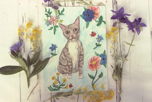 Pet Illustration, watercolour illustration, custom pet portrait , cat portrait