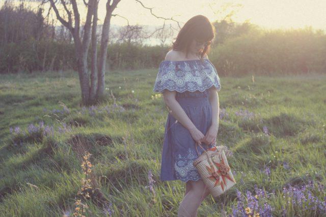 Chic Wish Folksy Lace Cutout Off-shoulder Dress in Denim, Fashion Blogger, Vintage Fashion, Spring Dress, Vintage straw bag