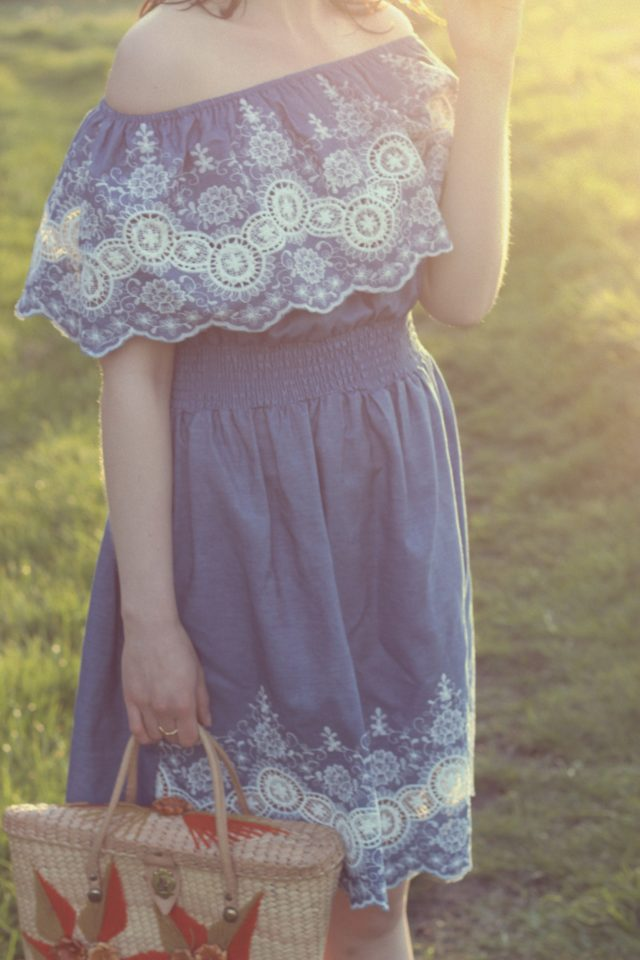 Chic Wish Folksy Lace Cutout Off-shoulder Dress in Denim, Fashion Blogger, Vintage Fashion, Spring Dress, Vintage straw bag