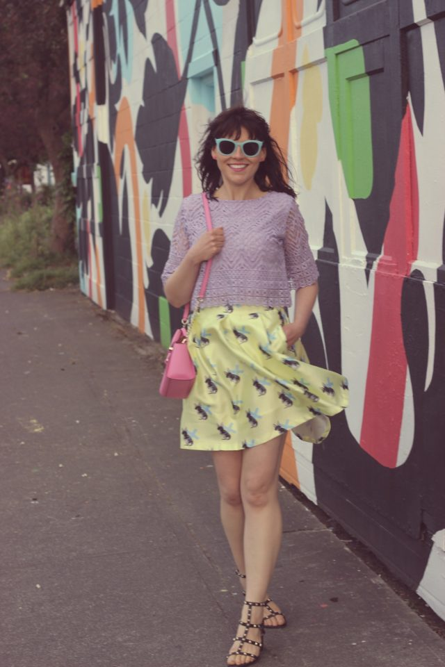 Chic Wish, Yellow Bunny Skirt, Purple Crochet Crop Top, Fashion Blogger, Kate Spade New York