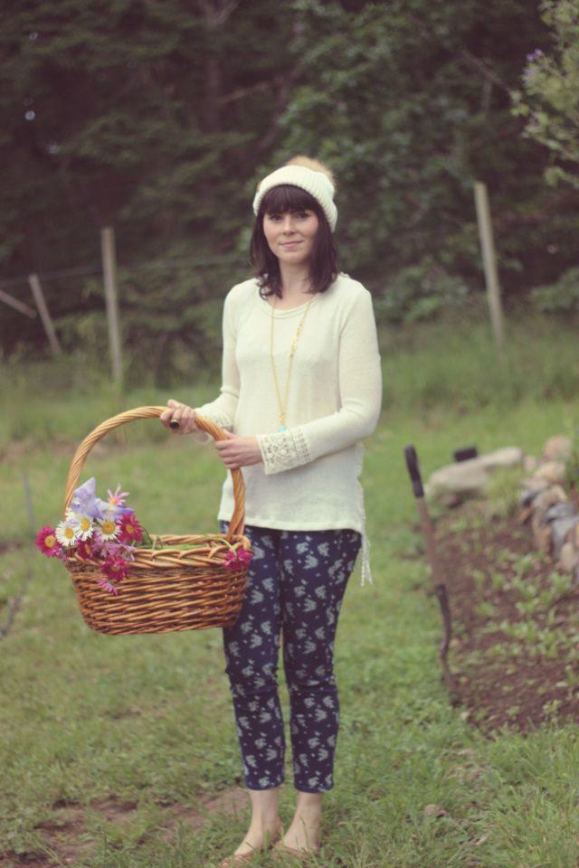 California Moonrise, Stephanie Kantis, BKLYN Bobble Hat, Floral Jeans, Stephanie Kantis, U-Pick Flowers, Vancouver Island, Wild Flowers