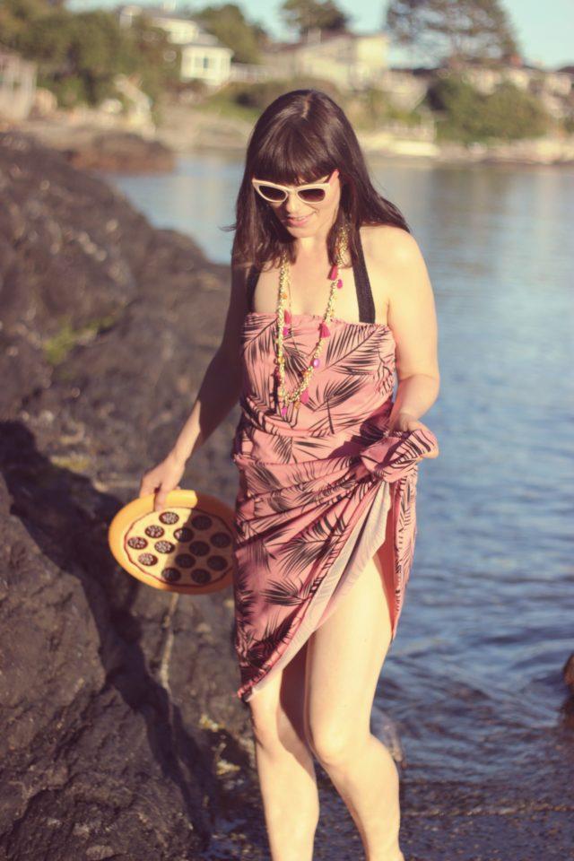 AMI Clubwear, Pizza Frisbee, palm printed maxi dress, beach, fashion blogger