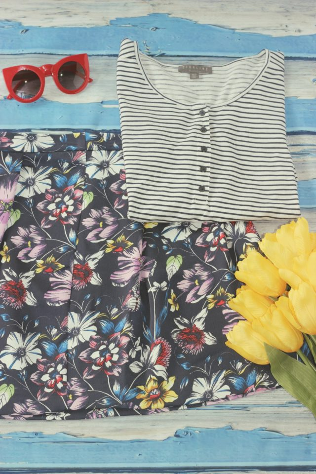 Highline Collective, floral skirt, mixing prints, Hudson's Bay, Lord and Taylor, summer Fashion, Fashion blogger