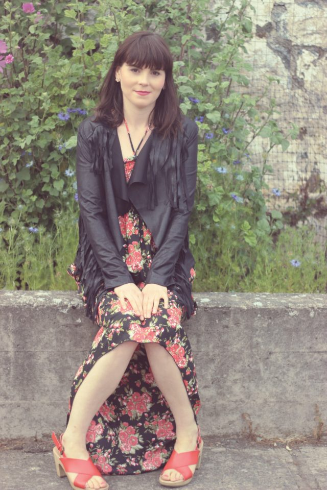 AMI Club Wear, California Moonrise, Floral maxi dress, Vintage fashion, fashion blogger, vintage fashion, summer fashion, fringe jacket