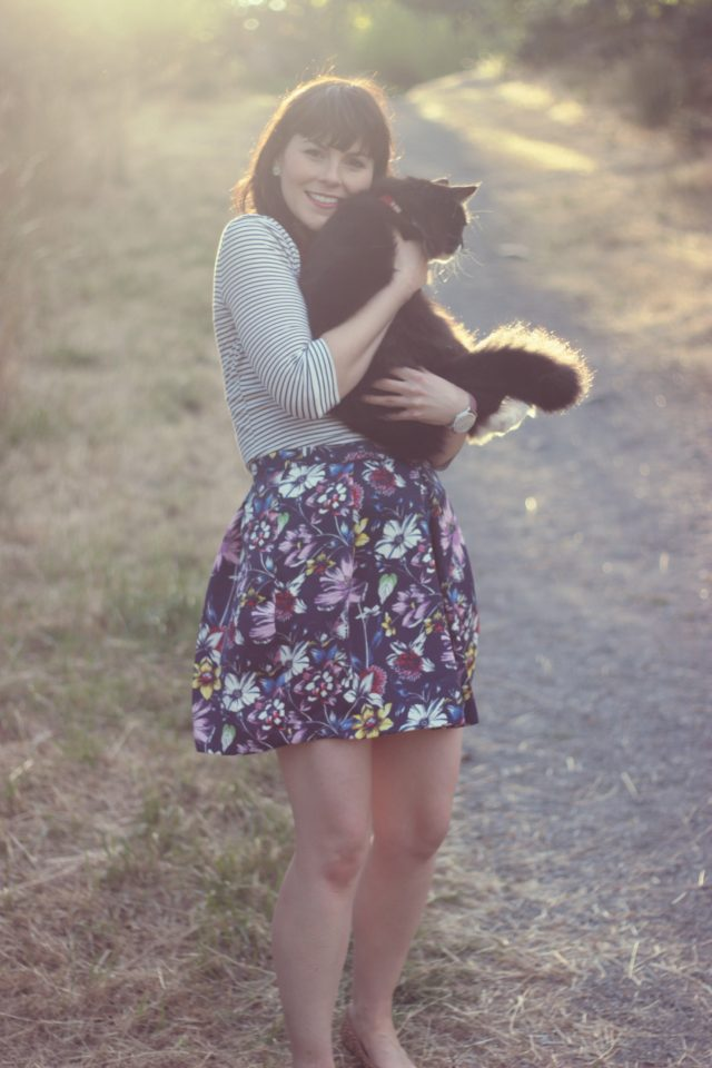 Highland Collective, Charming Charlie, Tuxedo Cat, Vintage fashion blogger. floral skirt, Striped shirt, how to mix prints, Lord and Taylor, Hudson's Bay