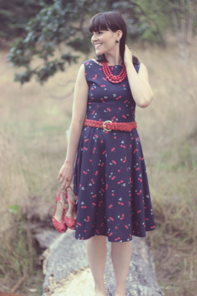 Vintage Jewel Neck Cherry Print Sleeveless Flare Dress For Women, Sammy Dress, Vintage, fashion, dress, pinup girl, retro, summer, style, cherry print