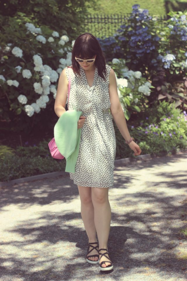 Betsey Johnson Polka-Dot Tie-Neck Sheath Dress, Kate Spade New York Hayden Mini, Marc by Marc Jacobs Pink Cat eye sunglasses, vintage fashion, fashion blogger