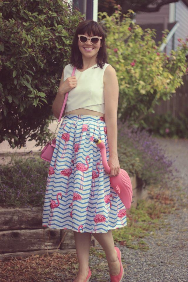 Chic Wish, Flamingo Skirt, midi skirt, crop top, summer fashion, street style, vintage fashion, fashion blogger, Kate Spade New york, pink