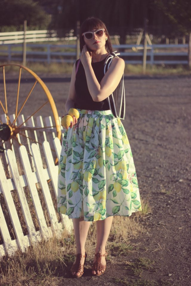 Chic Wish Lemon Tree Printed Midi Skirt, chic Wish Bonjour Bowknot Sleeveless Top in Black, cedar street small hayden vintage fashion, summer,
