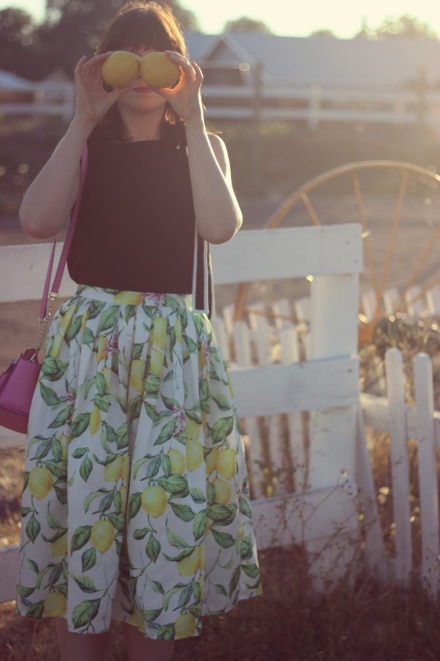 Chic Wish Lemon Tree Printed Midi Skirt, chic Wish Bonjour Bowknot Sleeveless Top in Black, cedar street small hayden vintage fashion, summer,