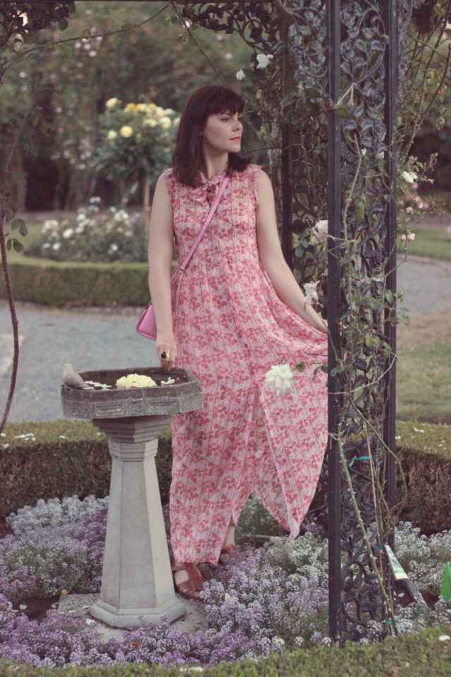 Marshalls, floral maxi dress, summer, wedding, pink, kate spade, rose garden, government house, fashion blogger, vintage