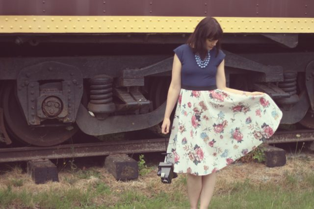 ola dubois made in Canada,, vintage fashion, slow fashion, vintage train, summer wedding, dress, floral, Victoria