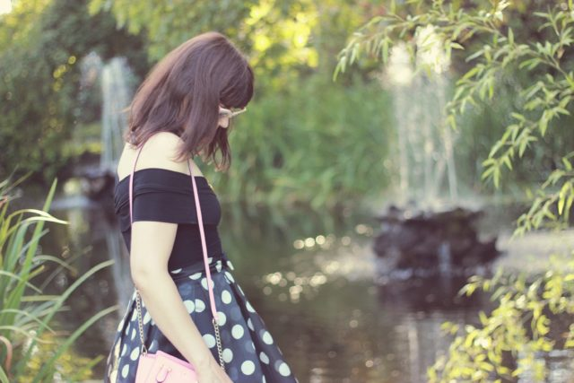 Chic Wish, Polka dot Bow Skirt, Wrap top, Vintage Fashion, Indie, Style, Fashion Blogger, Retro, Pin-up girl, kate Spade