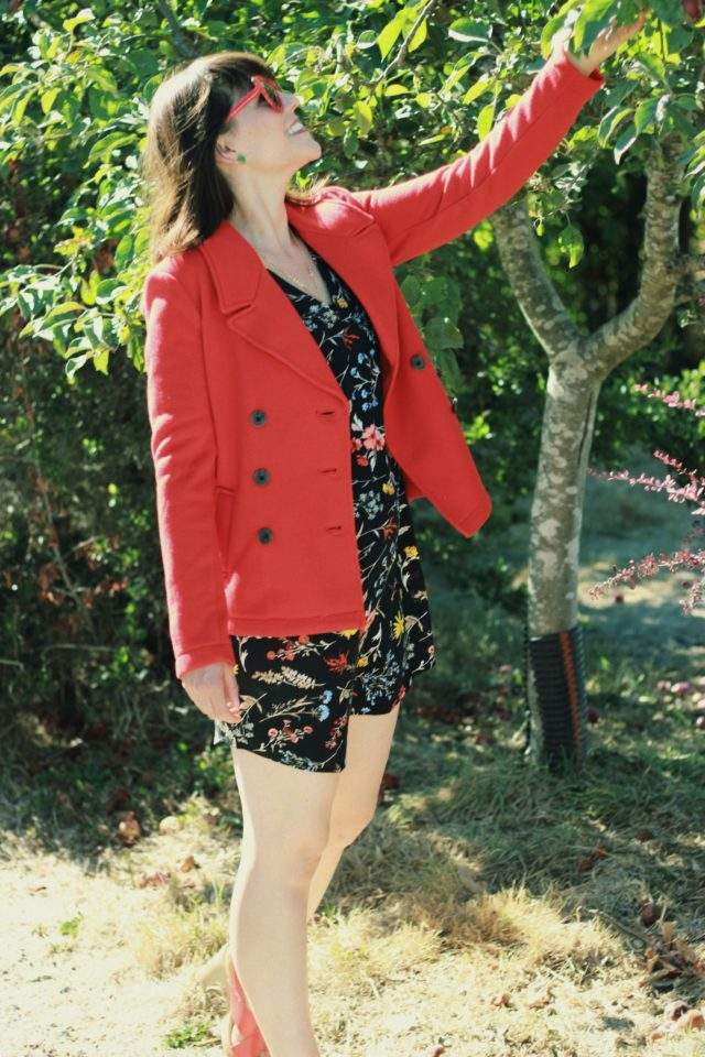 Old Navy, Fall Fashion, Floral dress, Red Pea coat, Fashion Blogger, Vintage, Style