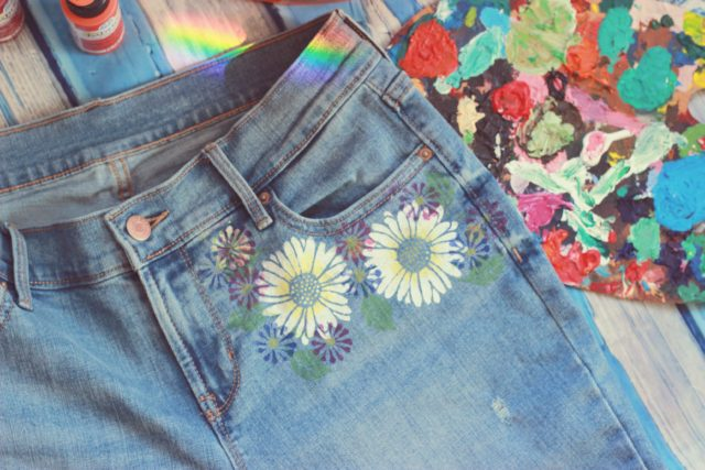 DIY Hand Painted Jeans by Laura