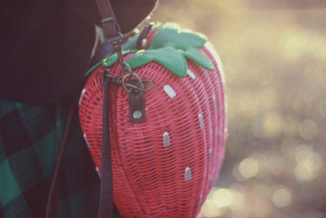 Ola Dubois, Zaful, Strawberry Straw Bag, Gigham and polka dots, Fall Fashion,