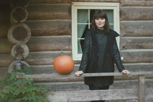 Tobi, Fall Fashion, Black Shearling Coat, Log Cabin, woods, fall, pumpkin,Shop Bop Season Sale
