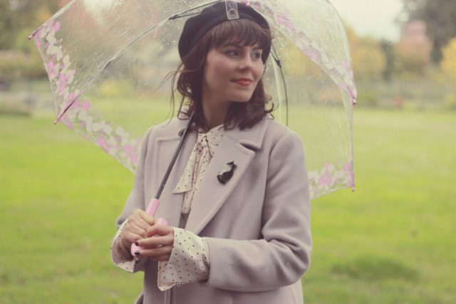 Chic Wish, Free People, Fulton, Umbrella, Birdcage, Beret, Polka dot, Old Navy. Mauve, vintage, fashion