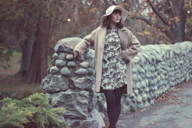 Naccessories, Cool Girl Floppy Hat, H&M Wool Coat, Fall Fashion, Cat printed Dress, Camel Coat, Vintage, Fashion Blogger
