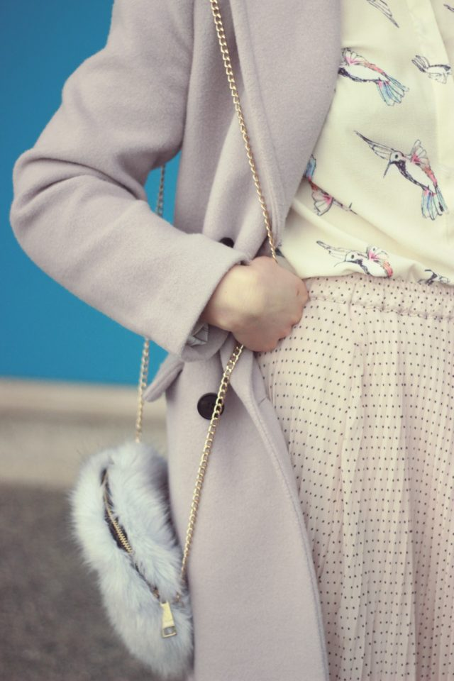 Tender Wool-blend Longline Coat in Lilac, Birdie Paradise Crepe Shirt, Dreamy Pink Mesh Pleats Tulle Skirt, Chic Wish, Pastel, Fashion, Vintage, style, blog,