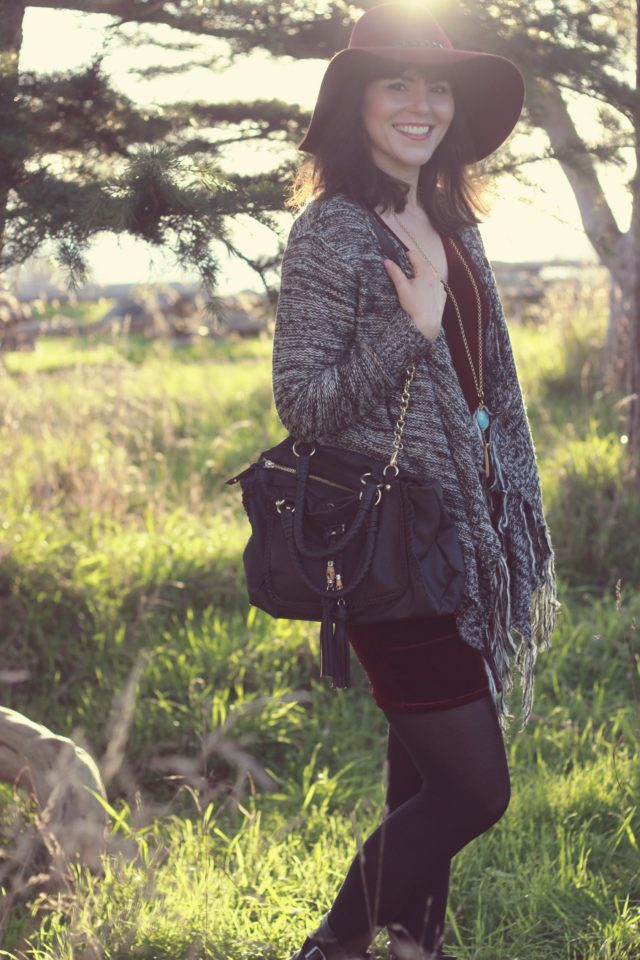 Design Lab, California Moonrise, Stephanie Kantis, Burgundy velvet, bohemian fashion, vintage, style,, women, outfit, idea