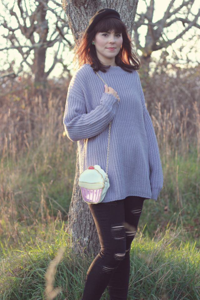 Chic Wish, Old Navy, purple sweater, cable knit, black jeans, distressed jeans, beret, cup cake, vintage, fall fashion,