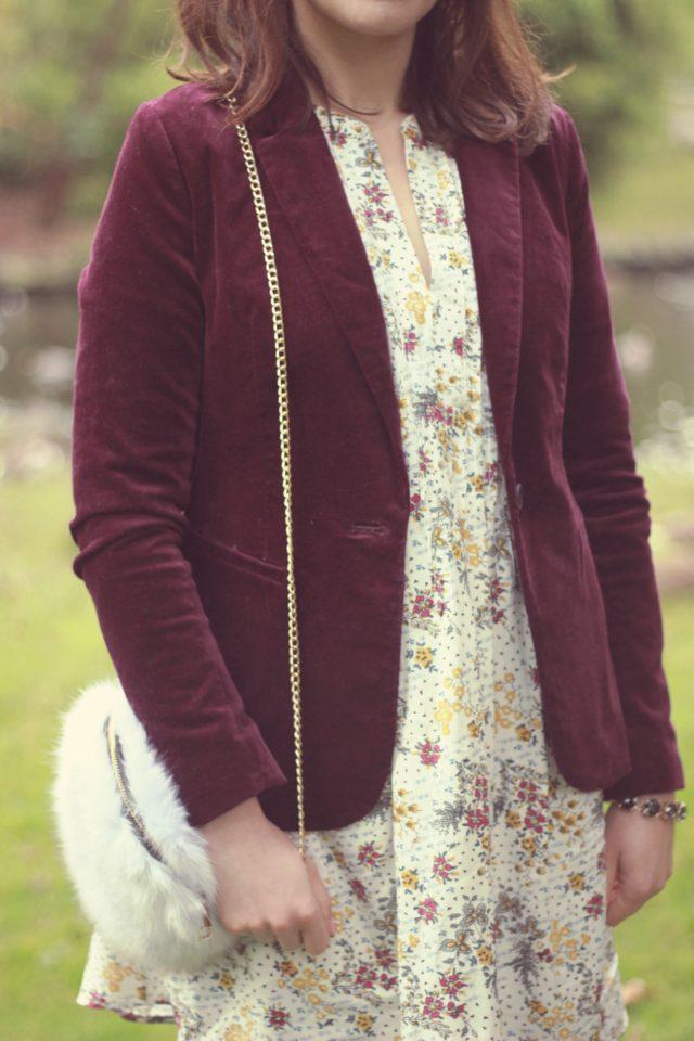 Old Navy, Velvet Blazer, Floral Dress, Fall Fashion, Vintage,
