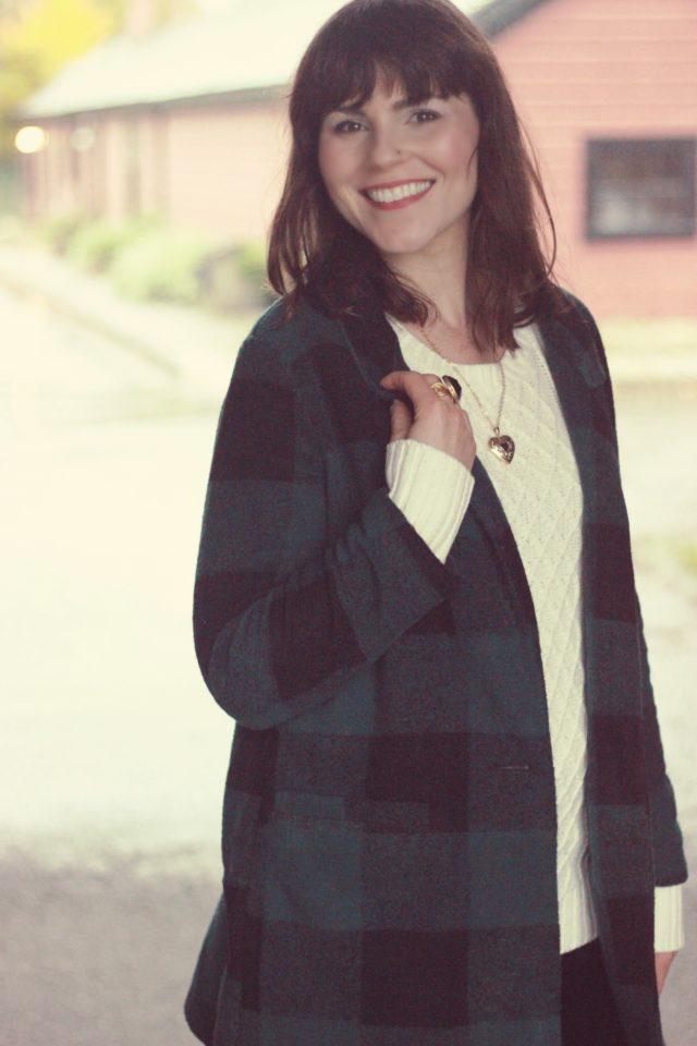 Old Navy, Plaid Buffalo Check Coat, Cream Cable knit Sweater, Velvet leggings
