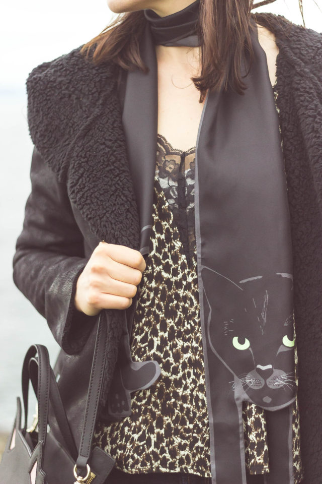 Design Lab, Lord and Taylor, Kate Spade New York, Cleo, Black Cat, Silk Scarf, Cat bag, Leopard, shearling coat, vintage, style, blogger,