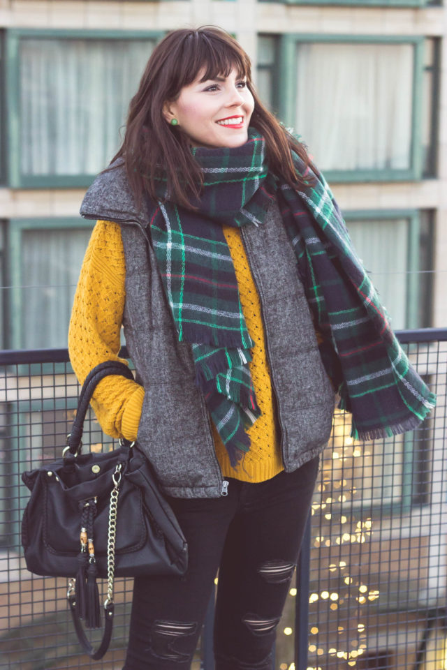 Old Navy, Winter Fashion, Cold Weather Accessories, Distressed Rock Star Jeans, Tweed puffer vest, Plaid Scarf, Mustard sweater, Vintage, style, fashion blogger, street style, street fashion