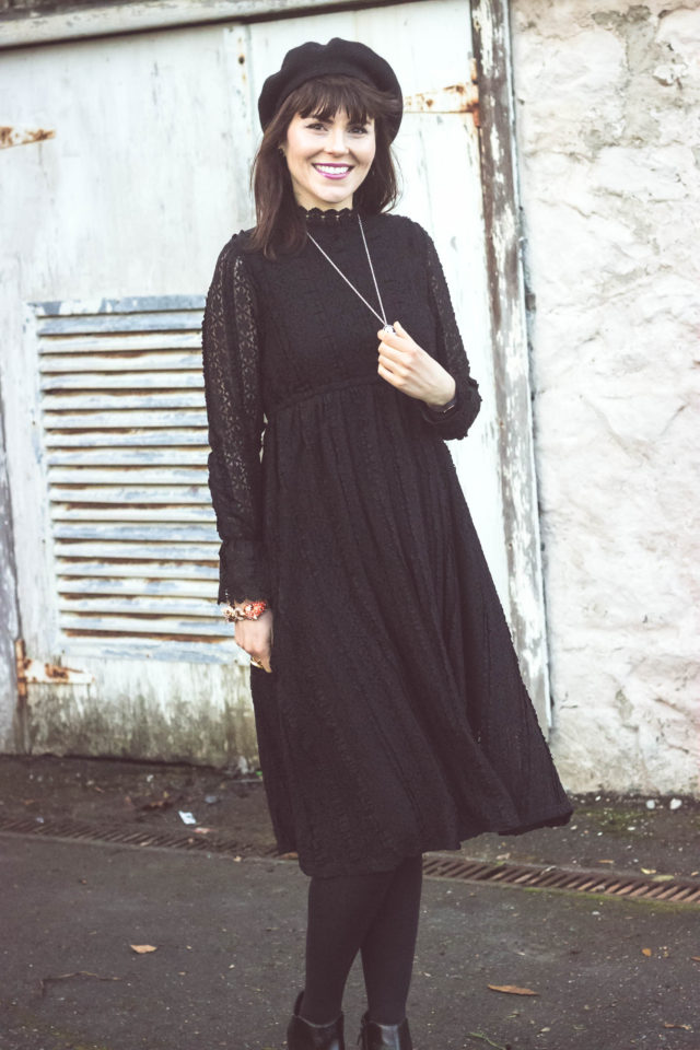 Take A Delicate Way Full Lace Dress in Black, Chic Wish, Victorian Dress, New Year's Eve Dress, Beret, Vintage Cameo, Sam Edelman Petty Boots, Stephanie Kantis, J.Crew, Cat Bracelet, Winter Fashion, Dress, Women, Style