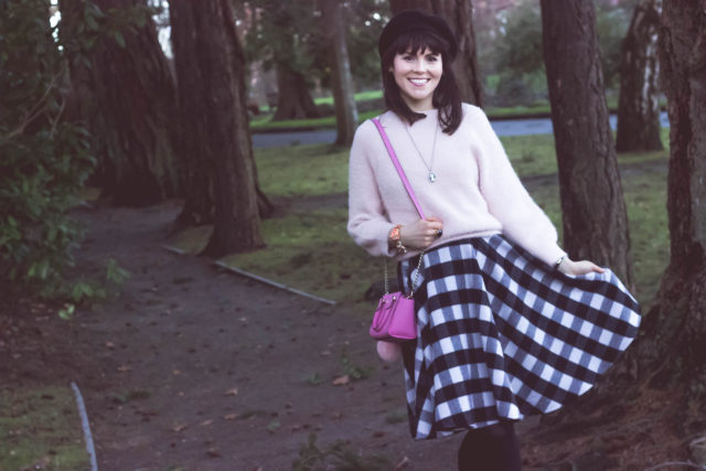 Classic Black Check Wool-blend A-line Skirt, Warm Afternoon Off-shoulder Sweater in Pink, Chic Wish, Beret, Gingham, Kate Spade New York, Vintage, style, fashion blogger, retro, fashion, woman, outfit, idea