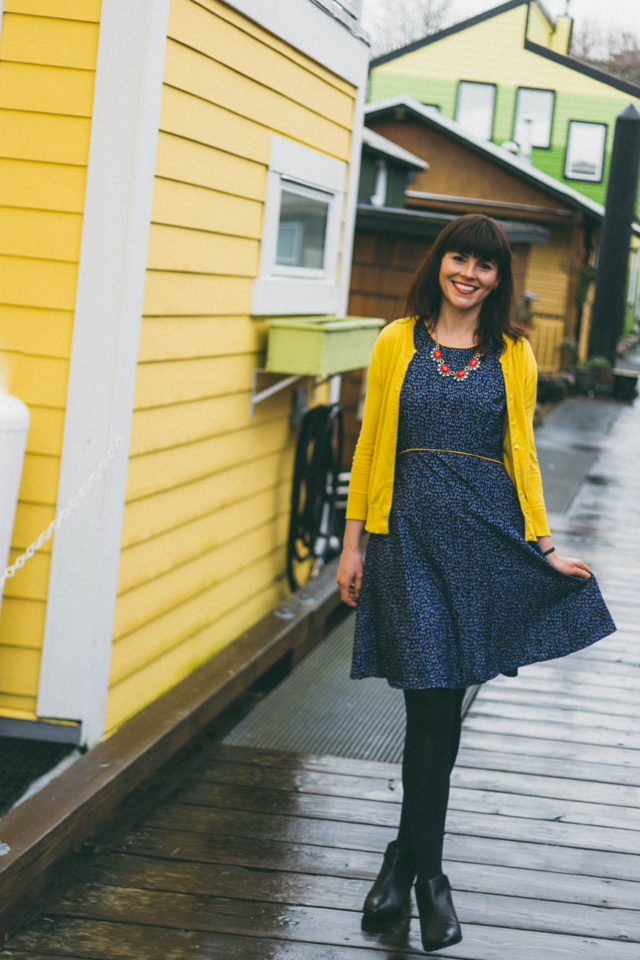 Yumi Nordic Dash Day Dress, Paradise Boutique, Yellow Cardigan, statement necklace, Zooey Deschanel Style, Vintage