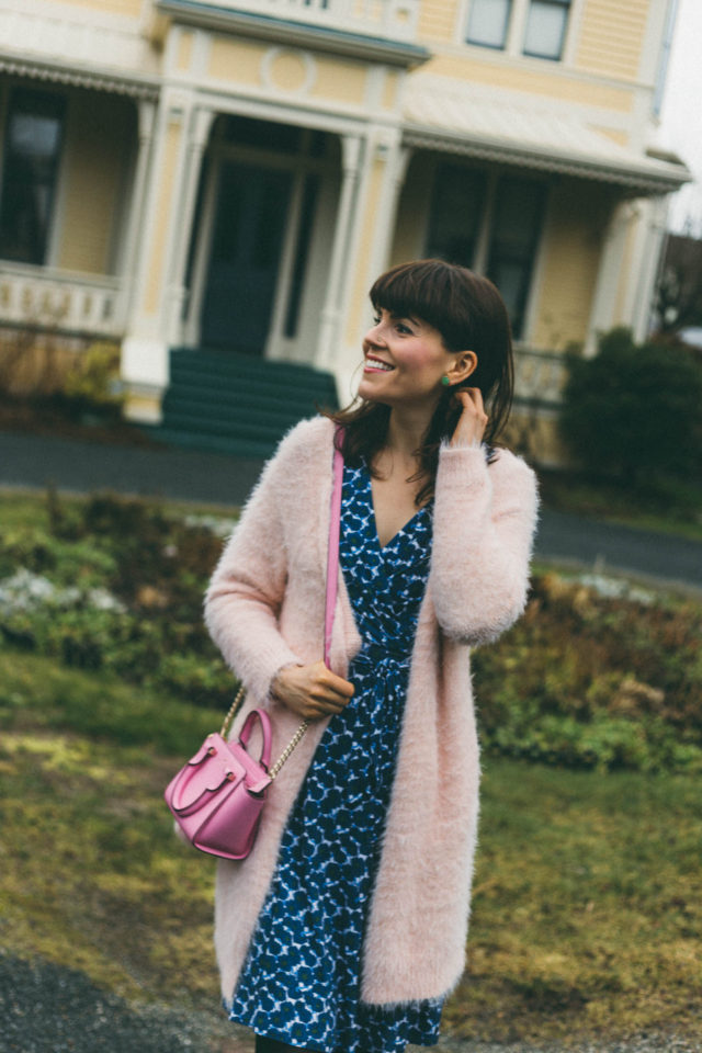 Yumi, Floral wrap dress, Paradise Boutique, Chic Wish, Kate Spade, Pink Cardigan, Emily Carr House